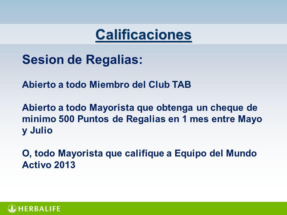 Calificaciones Sesion de Regalias: Abierto a todo Miembro del Club TAB