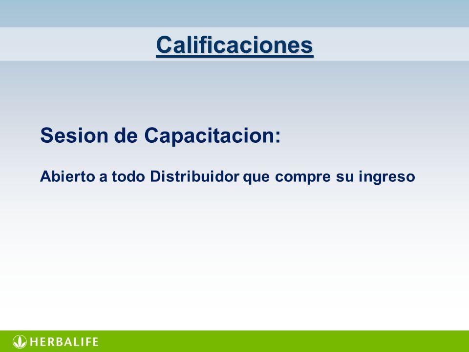 Calificaciones Sesion de Capacitacion: