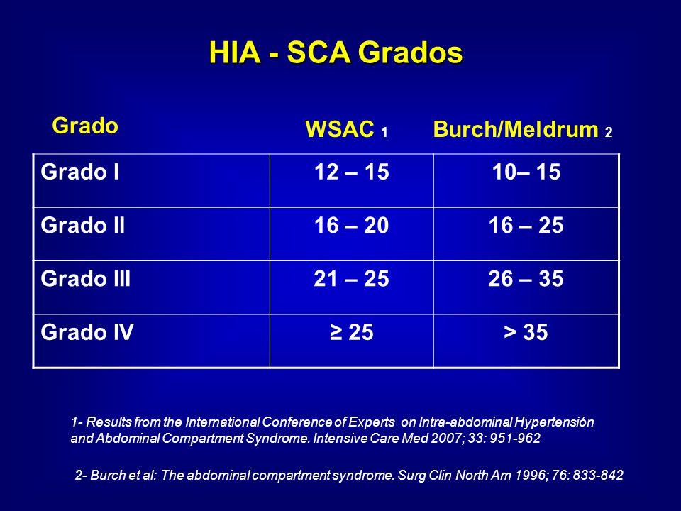 HIA - SCA Grados Grado I 12 – 15 10– 15 Grado II 16 – 20 16 – 25
