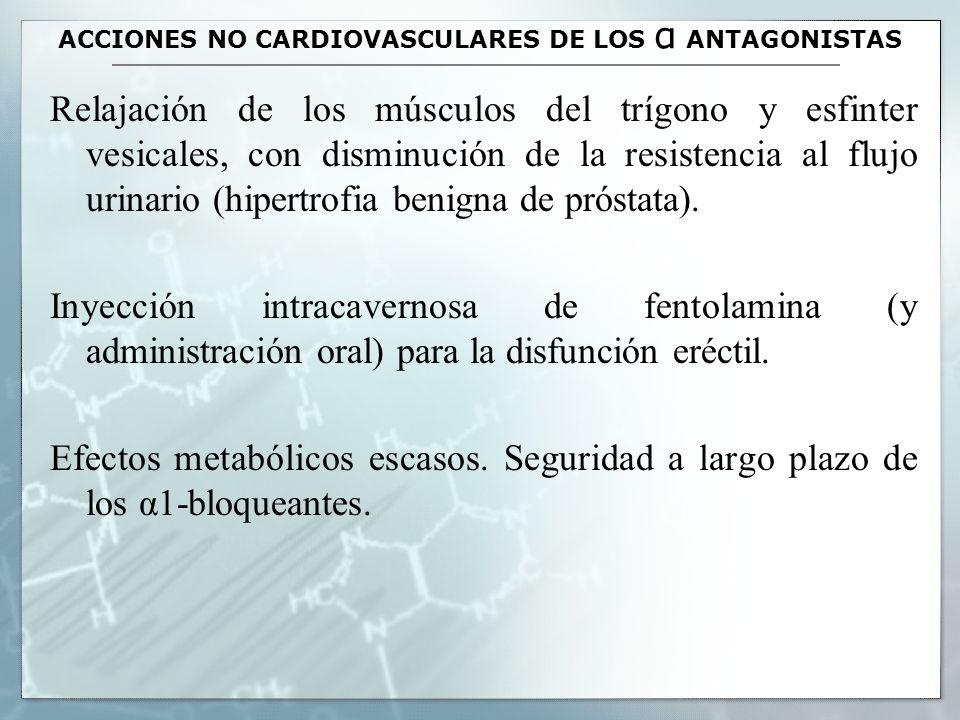 ACCIONES NO CARDIOVASCULARES DE LOS α ANTAGONISTAS