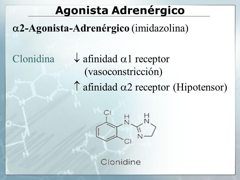 Agonista Adrenérgico 2-Agonista-Adrenérgico (imidazolina) Clonidina  afinidad 1 receptor (vasoconstricción)