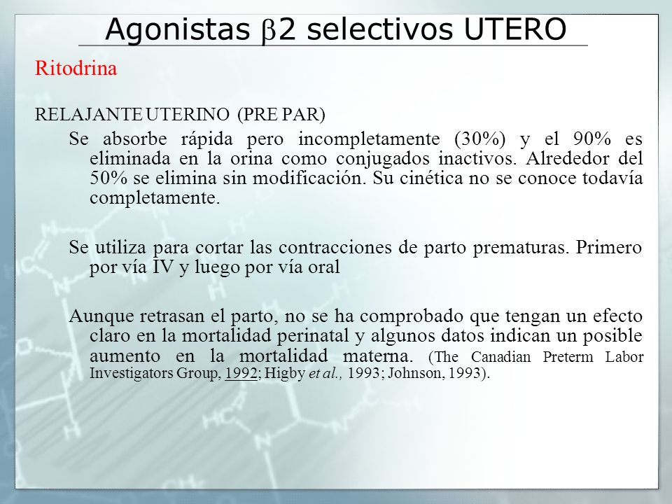 Agonistas b2 selectivos UTERO