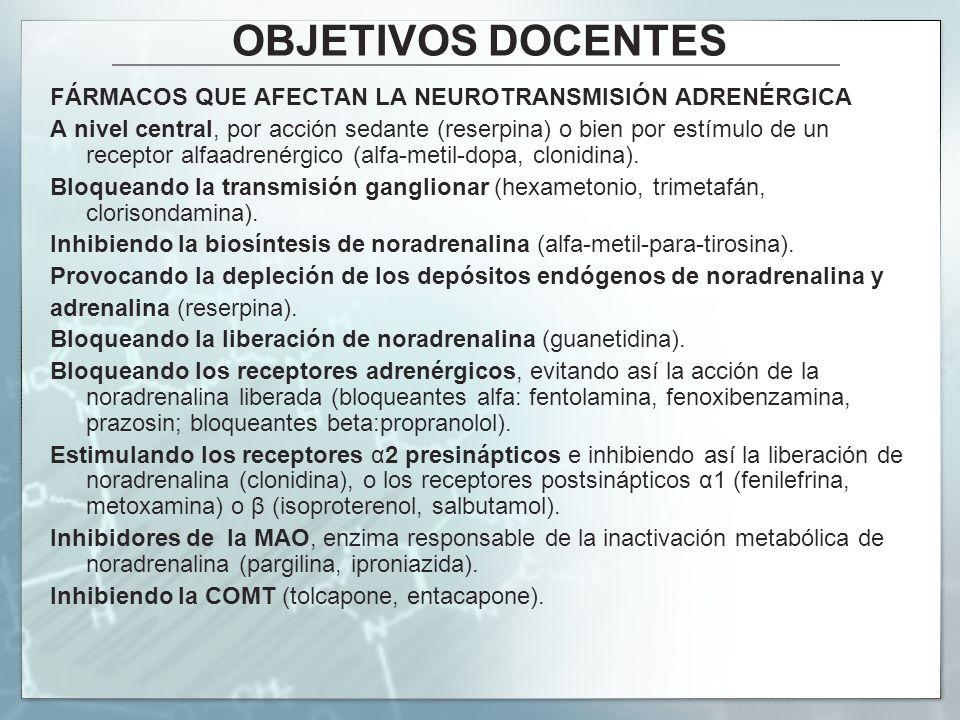 OBJETIVOS DOCENTES FÁRMACOS QUE AFECTAN LA NEUROTRANSMISIÓN ADRENÉRGICA.