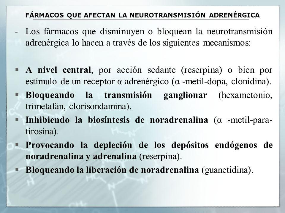 FÁRMACOS QUE AFECTAN LA NEUROTRANSMISIÓN ADRENÉRGICA