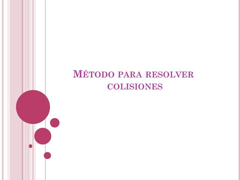 Método para resolver colisiones