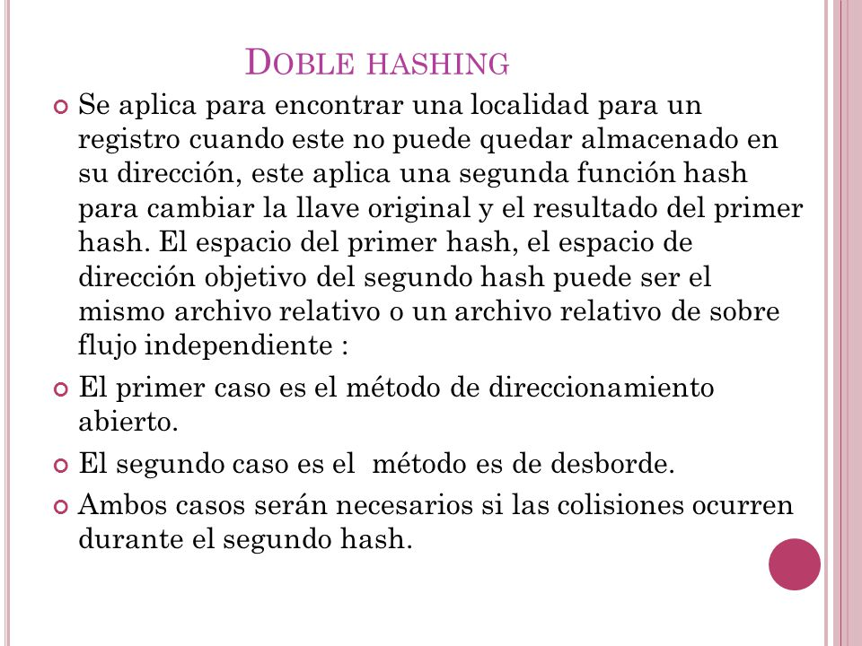 Doble hashing