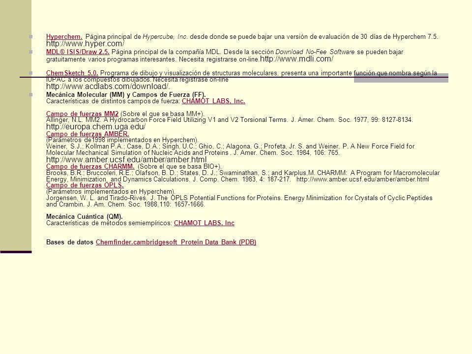 Hyperchem. Página principal de Hypercube, Inc