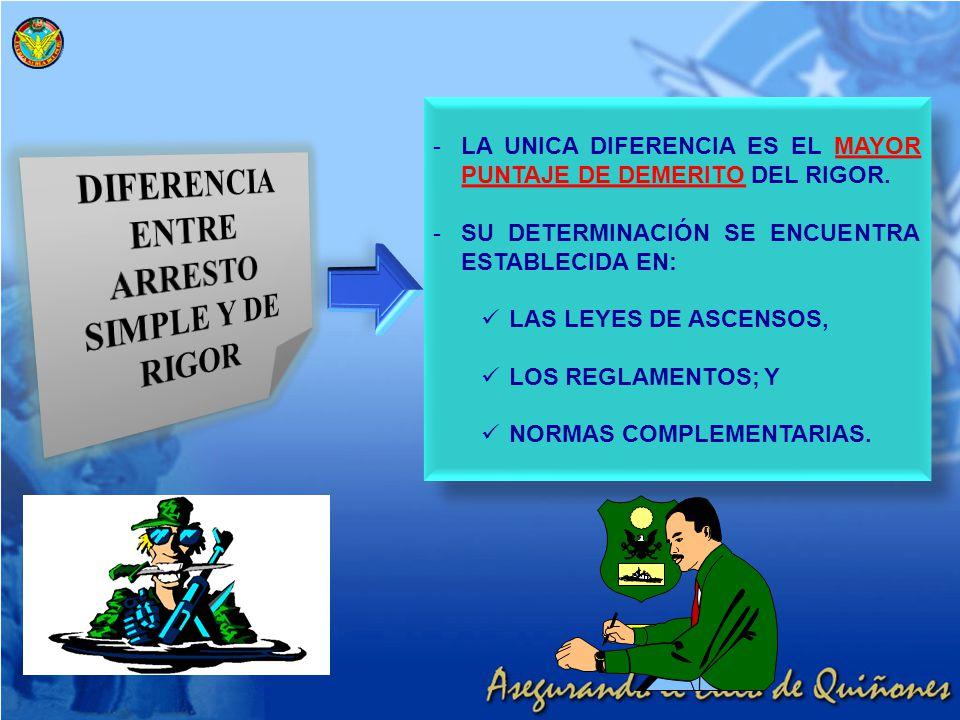 DIFERENCIA ENTRE ARRESTO SIMPLE Y DE RIGOR