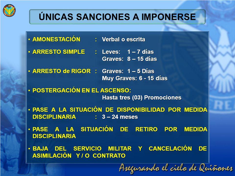 ÚNICAS SANCIONES A IMPONERSE