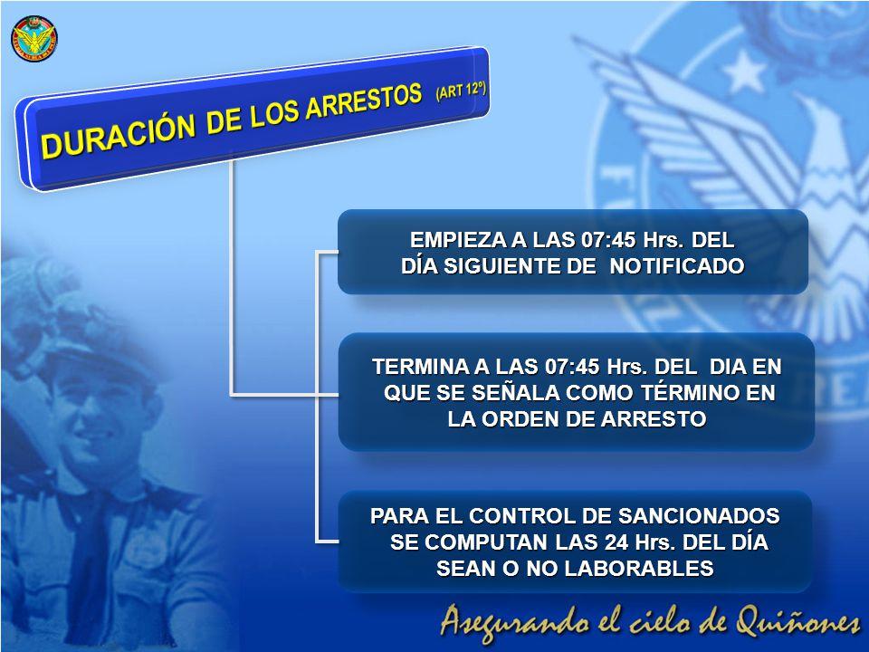 DURACIÓN DE LOS ARRESTOS (ART 12º)