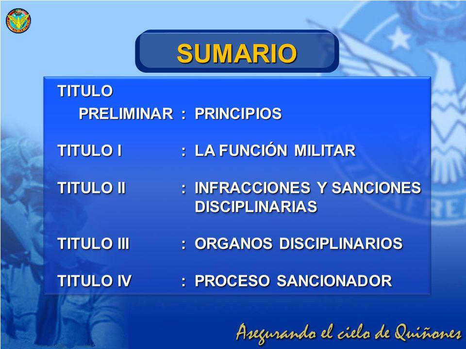 SUMARIO TITULO PRELIMINAR : PRINCIPIOS TITULO I : LA FUNCIÓN MILITAR