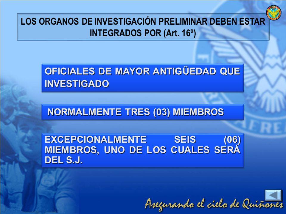 LOS ORGANOS DE INVESTIGACIÓN PRELIMINAR DEBEN ESTAR INTEGRADOS POR (Art. 16º)
