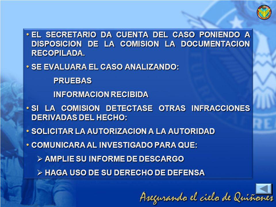 EL SECRETARIO DA CUENTA DEL CASO PONIENDO A DISPOSICION DE LA COMISION LA DOCUMENTACION RECOPILADA.