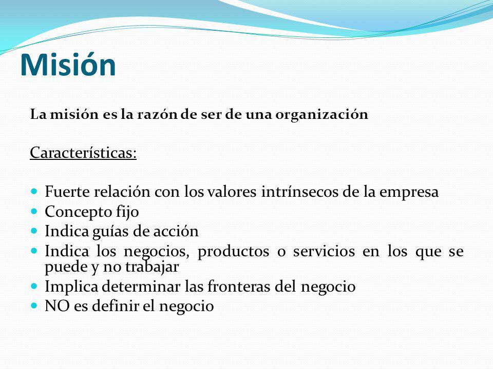 Misión Características: