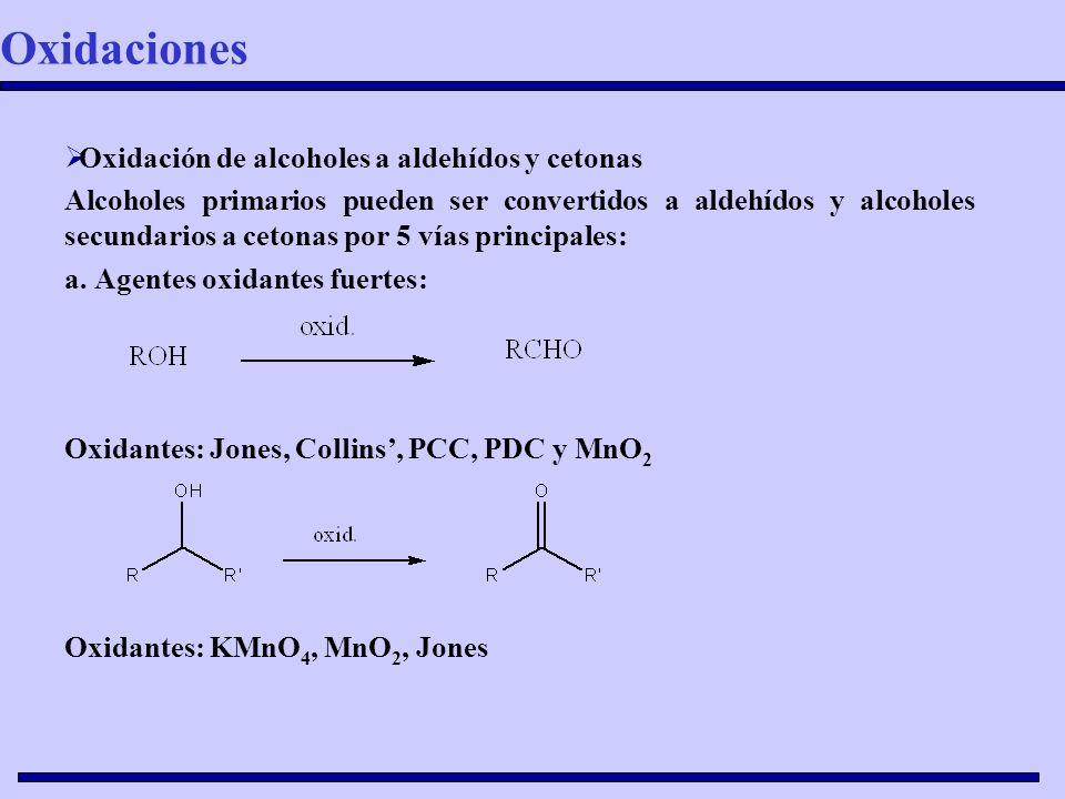 Oxidaciones Oxidación de alcoholes a aldehídos y cetonas