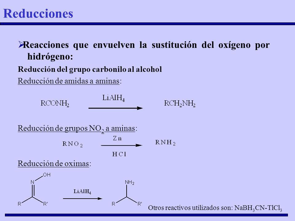 Reducciones Reacciones que envuelven la sustitución del oxígeno por hidrógeno: Reducción del grupo carbonilo al alcohol.