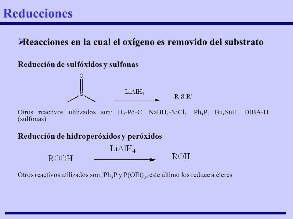 Reducciones Reacciones en la cual el oxígeno es removido del substrato
