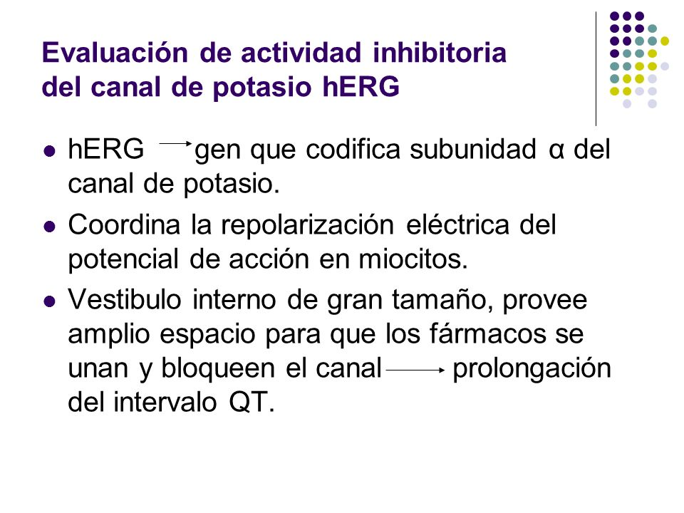 Evaluación de actividad inhibitoria del canal de potasio hERG