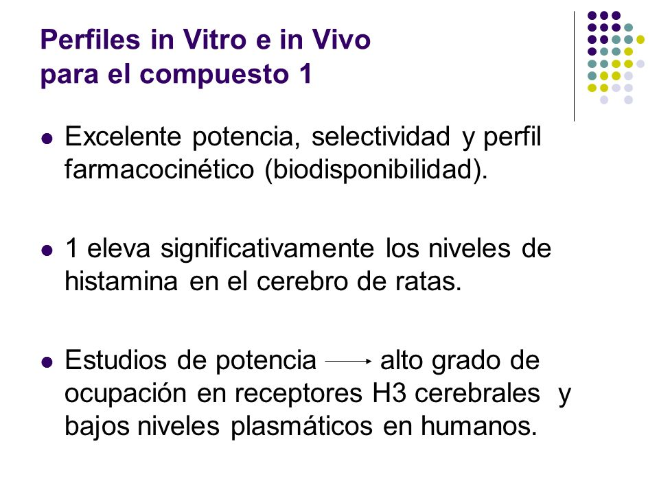 Perfiles in Vitro e in Vivo para el compuesto 1