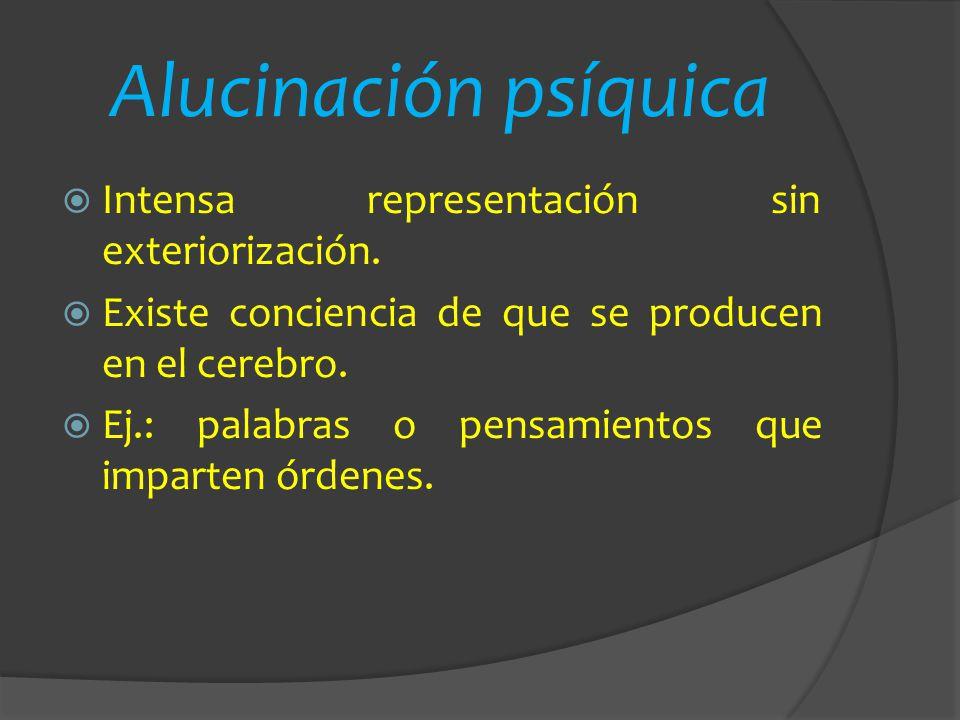 Alucinación psíquica Intensa representación sin exteriorización.