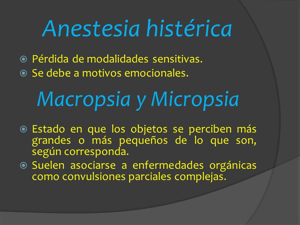 Anestesia histérica Macropsia y Micropsia