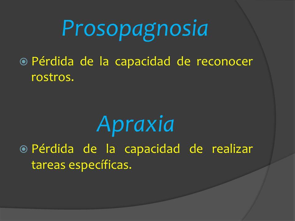 Prosopagnosia Apraxia Pérdida de la capacidad de reconocer rostros.