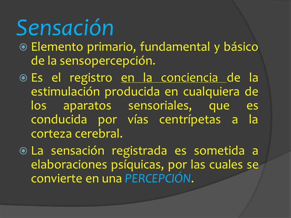 Sensación Elemento primario, fundamental y básico de la sensopercepción.