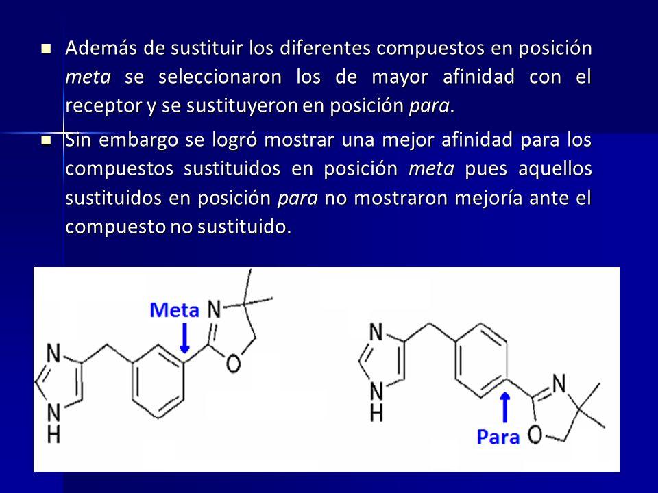 Además de sustituir los diferentes compuestos en posición meta se seleccionaron los de mayor afinidad con el receptor y se sustituyeron en posición para.