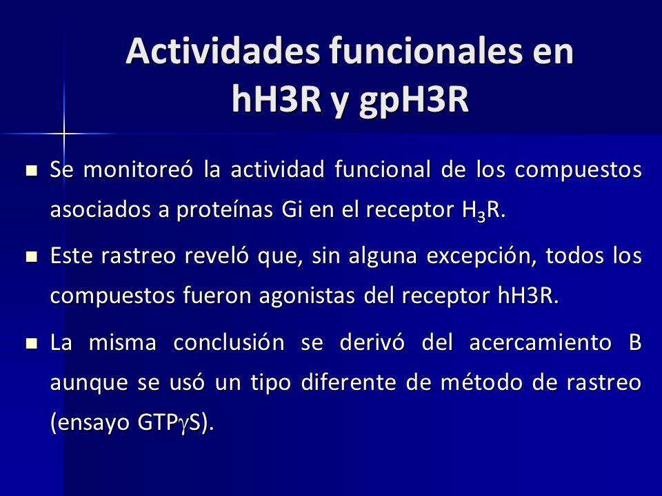 Actividades funcionales en hH3R y gpH3R