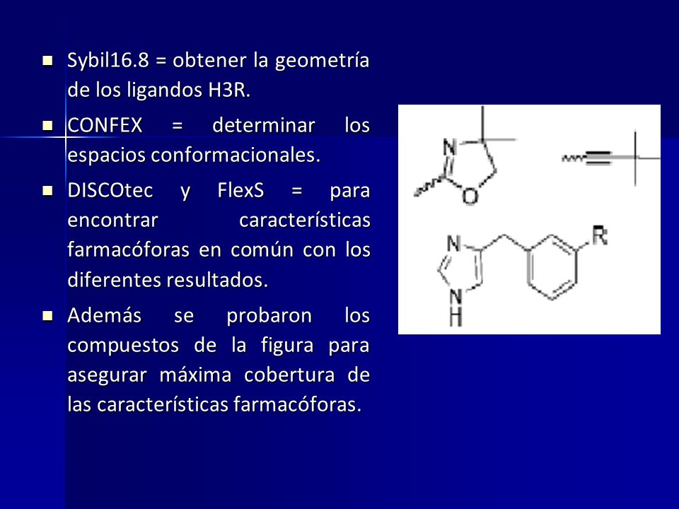 Sybil16.8 = obtener la geometría de los ligandos H3R.