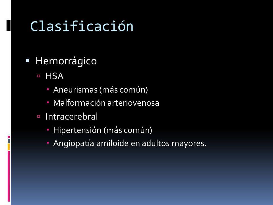 Clasificación Hemorrágico HSA Intracerebral Aneurismas (más común)
