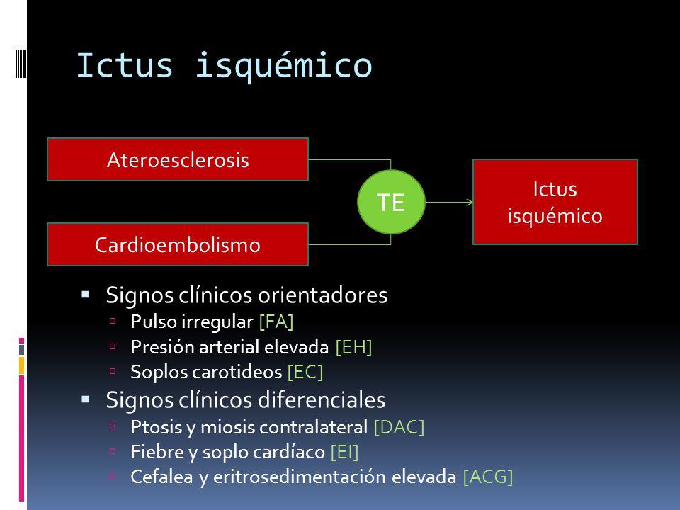Ictus isquémico TE Signos clínicos orientadores