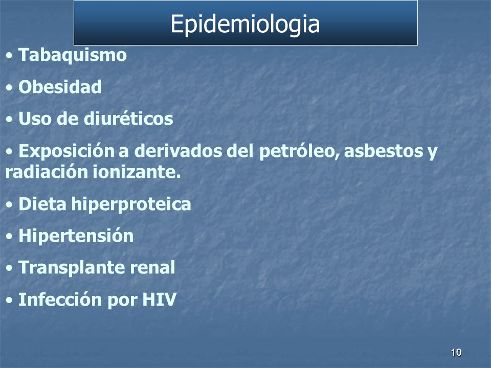 Epidemiologia Tabaquismo Obesidad Uso de diuréticos