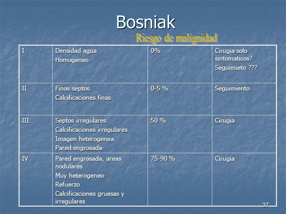 Bosniak Riesgo de malignidad I Densidad agua Homogeneo 0%