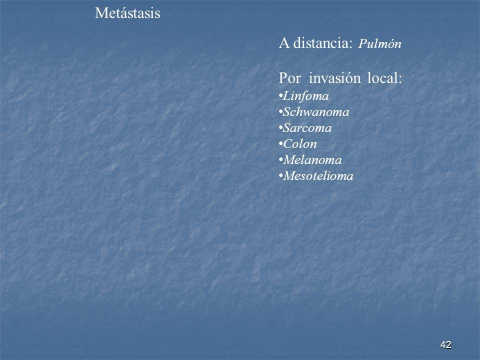 Metástasis A distancia: Pulmón Por invasión local: Linfoma Schwanoma