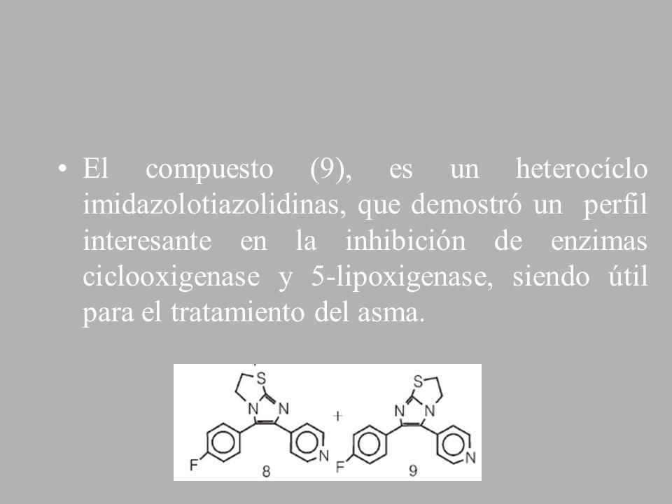 El compuesto (9), es un heterocíclo imidazolotiazolidinas, que demostró un perfil interesante en la inhibición de enzimas ciclooxigenase y 5-lipoxigenase, siendo útil para el tratamiento del asma.