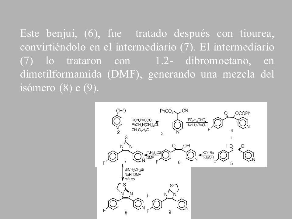 Este benjuí, (6), fue tratado después con tiourea, convirtiéndolo en el intermediario (7).