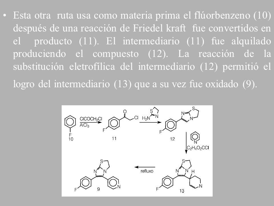 Esta otra ruta usa como materia prima el flúorbenzeno (10) después de una reacción de Friedel kraft fue convertidos en el producto (11).