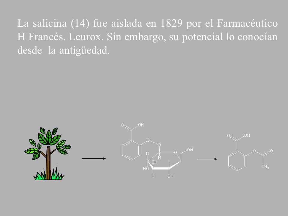 La salicina (14) fue aislada en 1829 por el Farmacéutico H Francés