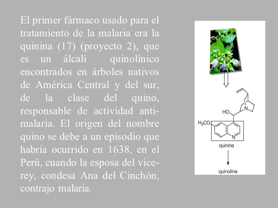El primer fármaco usado para el tratamiento de la malaria era la quinina (17) (proyecto 2), que es un álcali quinolínico encontrados en árboles nativos de América Central y del sur, de la clase del quino, responsable de actividad anti-malaria.