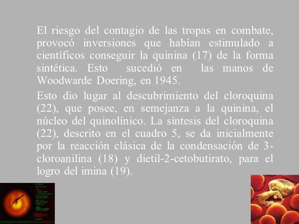 El riesgo del contagio de las tropas en combate, provocó inversiones que habían estimulado a científicos conseguir la quinina (17) de la forma sintética. Esto sucedió en las manos de Woodwarde Doering, en 1945.