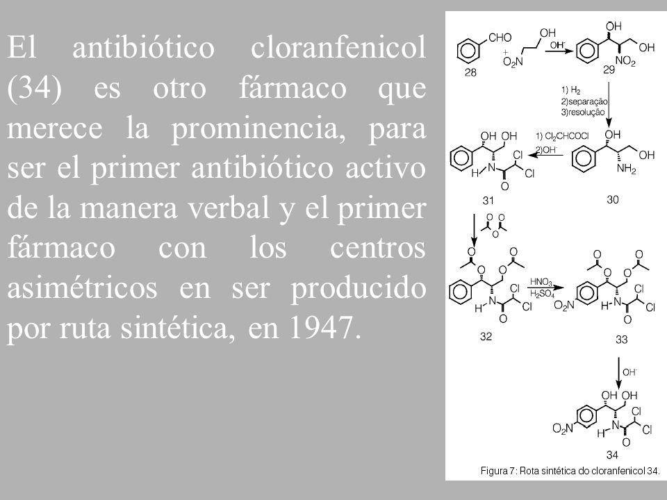 El antibiótico cloranfenicol (34) es otro fármaco que merece la prominencia, para ser el primer antibiótico activo de la manera verbal y el primer fármaco con los centros asimétricos en ser producido por ruta sintética, en 1947.