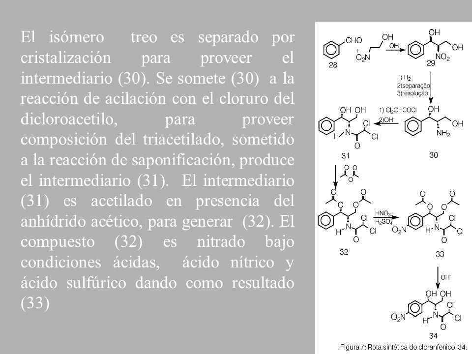 El isómero treo es separado por cristalización para proveer el intermediario (30).