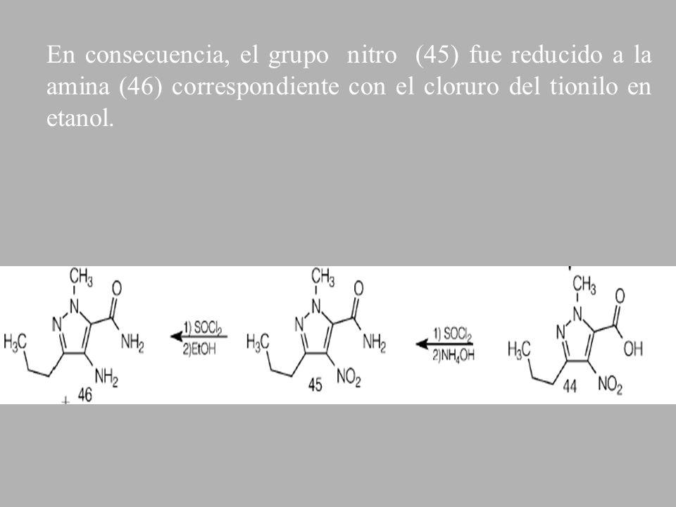 En consecuencia, el grupo nitro (45) fue reducido a la amina (46) correspondiente con el cloruro del tionilo en etanol.