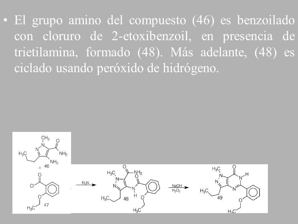 El grupo amino del compuesto (46) es benzoilado con cloruro de 2-etoxibenzoil, en presencia de trietilamina, formado (48).