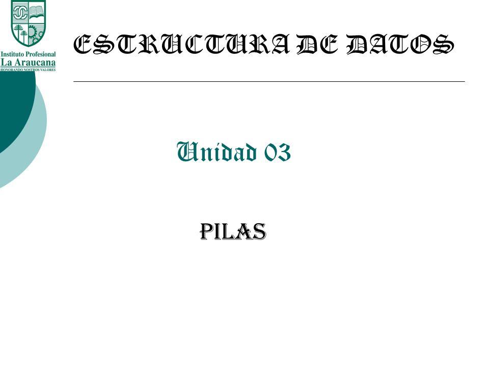 ESTRUCTURA DE DATOS Unidad 03 PILAS