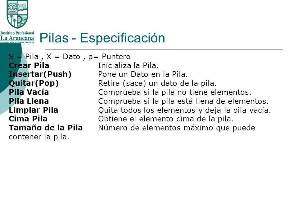Pilas - Especificación