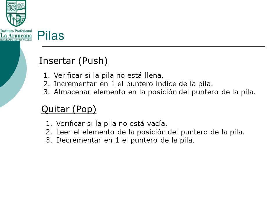 Pilas Insertar (Push) Quitar (Pop) Verificar si la pila no está llena.