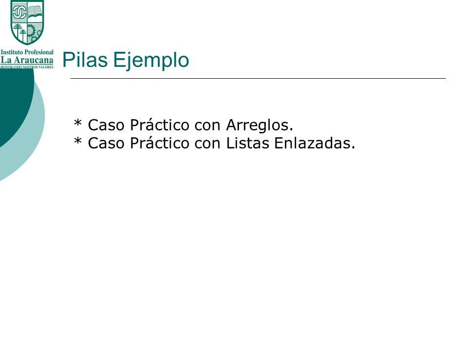 Pilas Ejemplo * Caso Práctico con Arreglos. * Caso Práctico con Listas Enlazadas.
