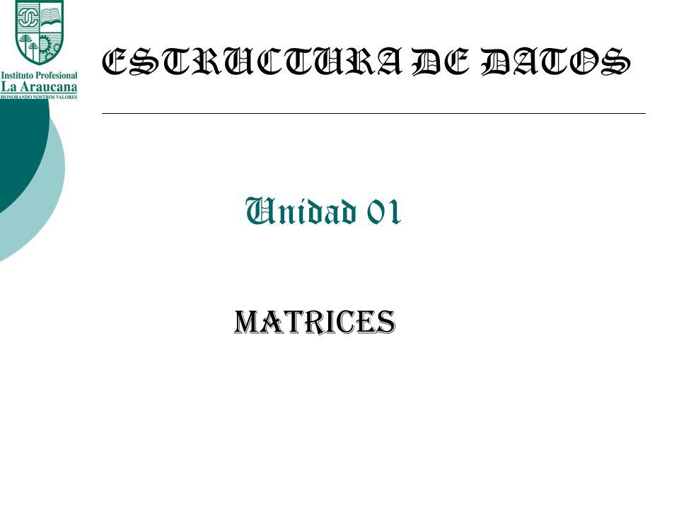 ESTRUCTURA DE DATOS Unidad 01 MATRICES